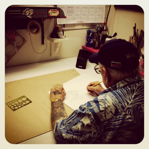 Henry, drawing up my tattoo